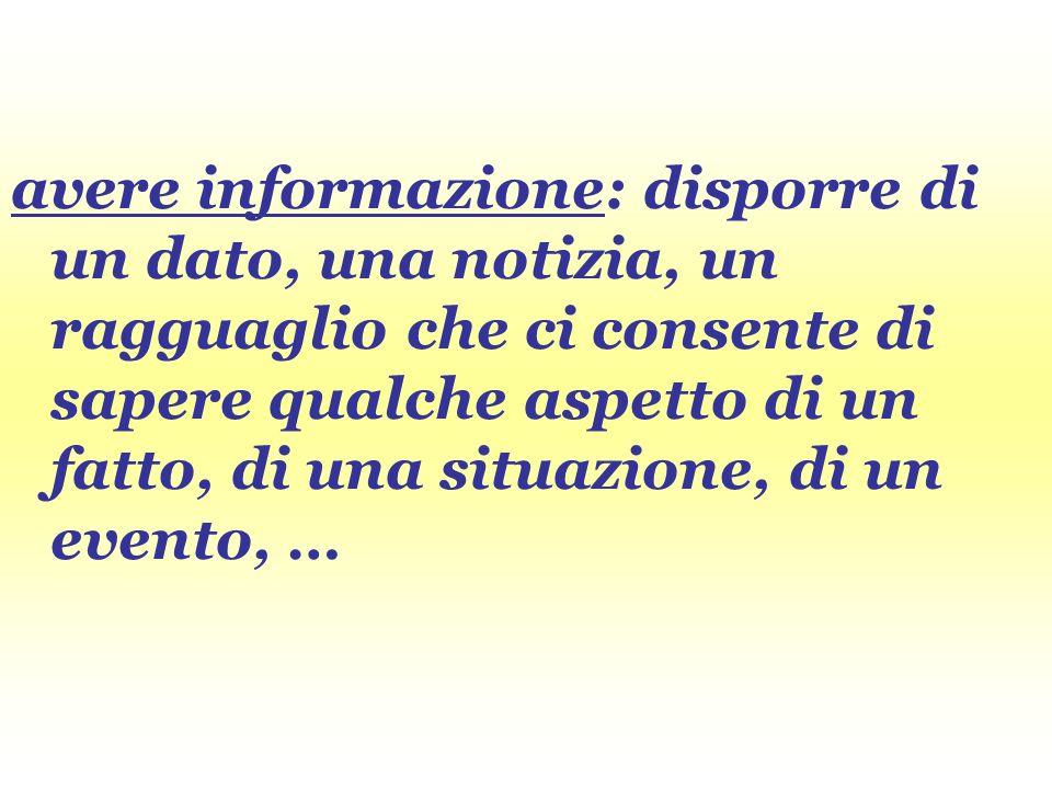 avere informazione: disporre di un dato, una notizia, un ragguaglio che ci consente di sapere qualche aspetto di un fatto, di una situazione, di un ev