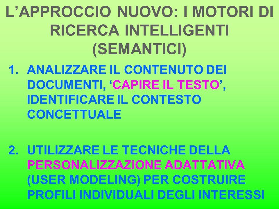 LAPPROCCIO NUOVO: I MOTORI DI RICERCA INTELLIGENTI (SEMANTICI) 1.ANALIZZARE IL CONTENUTO DEI DOCUMENTI, CAPIRE IL TESTO, IDENTIFICARE IL CONTESTO CONC