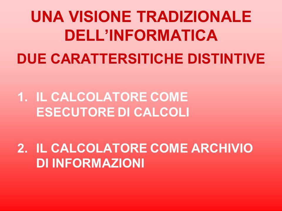UNA VISIONE TRADIZIONALE DELLINFORMATICA DUE CARATTERSITICHE DISTINTIVE 1.IL CALCOLATORE COME ESECUTORE DI CALCOLI 2.IL CALCOLATORE COME ARCHIVIO DI I