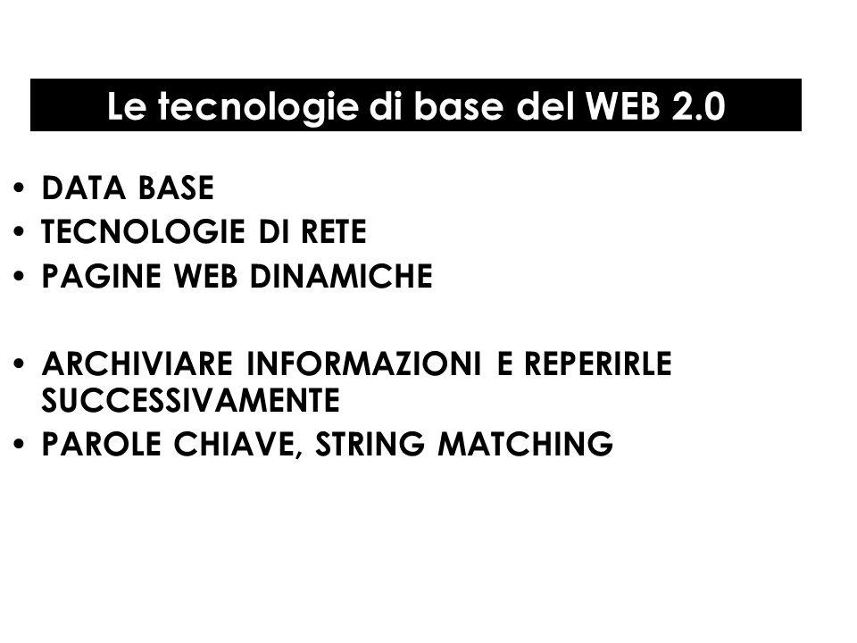 Le tecnologie di base del WEB 2.0 DATA BASE TECNOLOGIE DI RETE PAGINE WEB DINAMICHE ARCHIVIARE INFORMAZIONI E REPERIRLE SUCCESSIVAMENTE PAROLE CHIAVE,