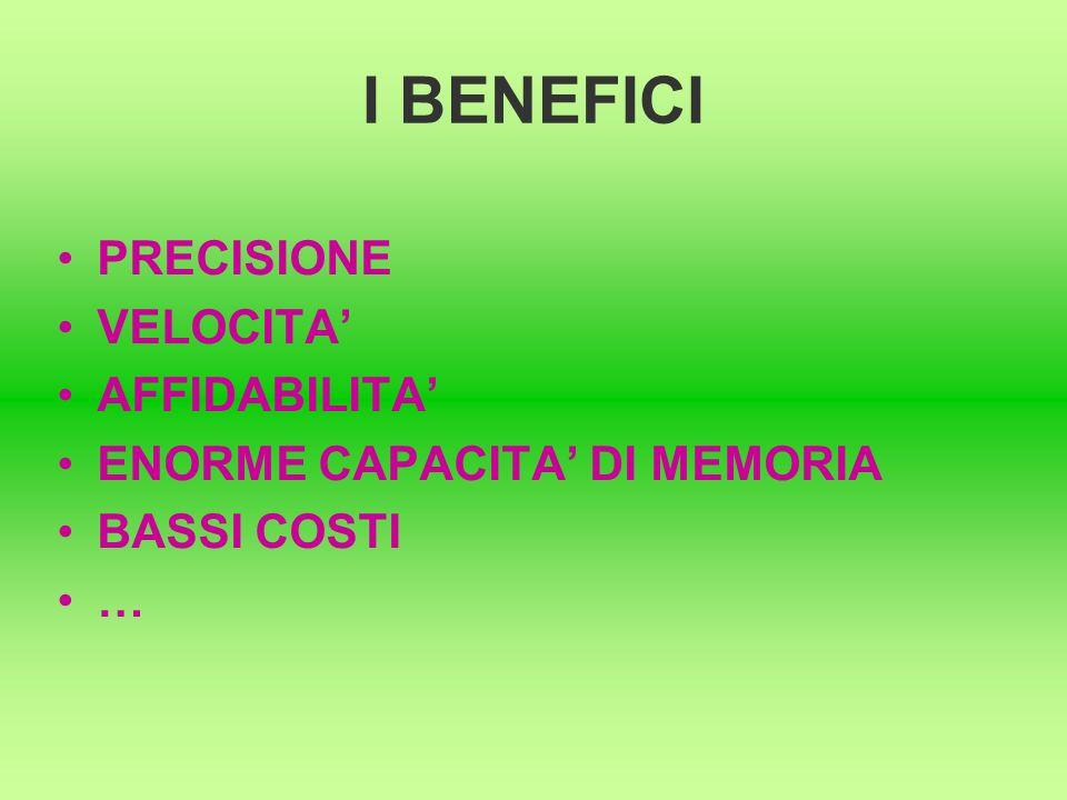 I BENEFICI PRECISIONE VELOCITA AFFIDABILITA ENORME CAPACITA DI MEMORIA BASSI COSTI …