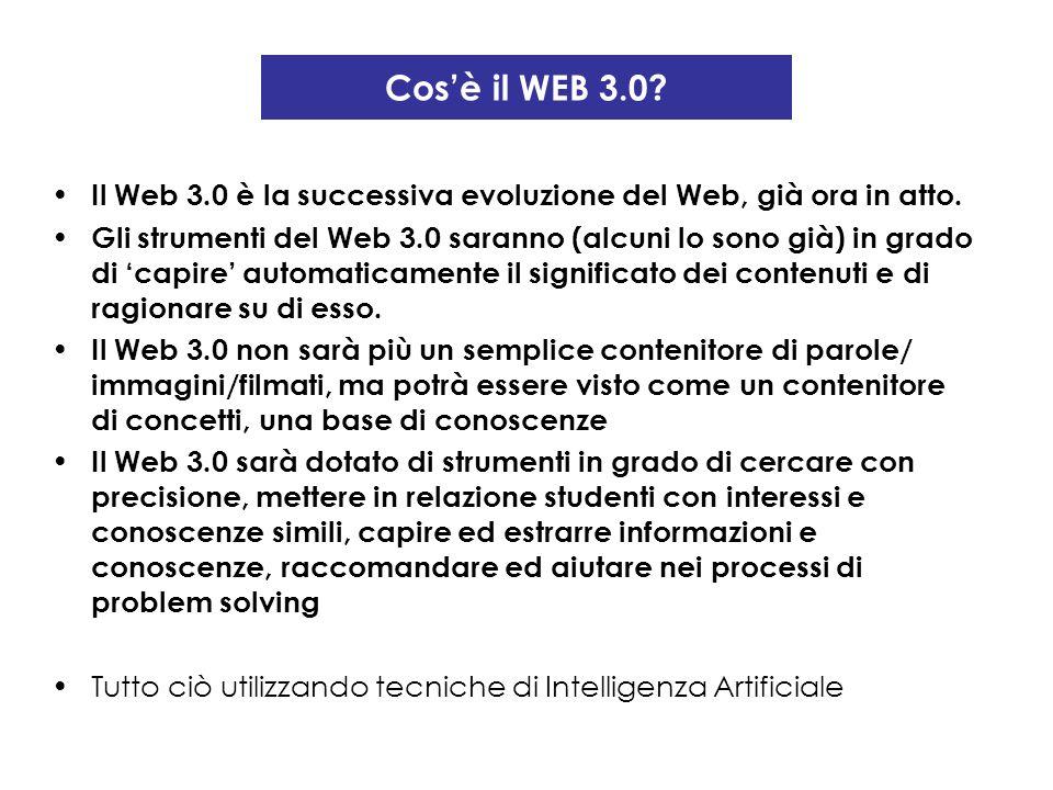Cosè il WEB 3.0? Il Web 3.0 è la successiva evoluzione del Web, già ora in atto. Gli strumenti del Web 3.0 saranno (alcuni lo sono già) in grado di ca