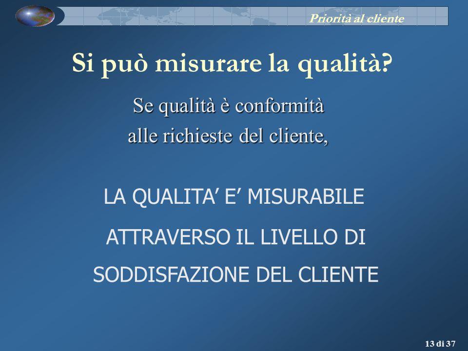 13 di 37 Se qualità è conformità alle richieste del cliente, Si può misurare la qualità? LA QUALITA E MISURABILE ATTRAVERSO IL LIVELLO DI SODDISFAZION