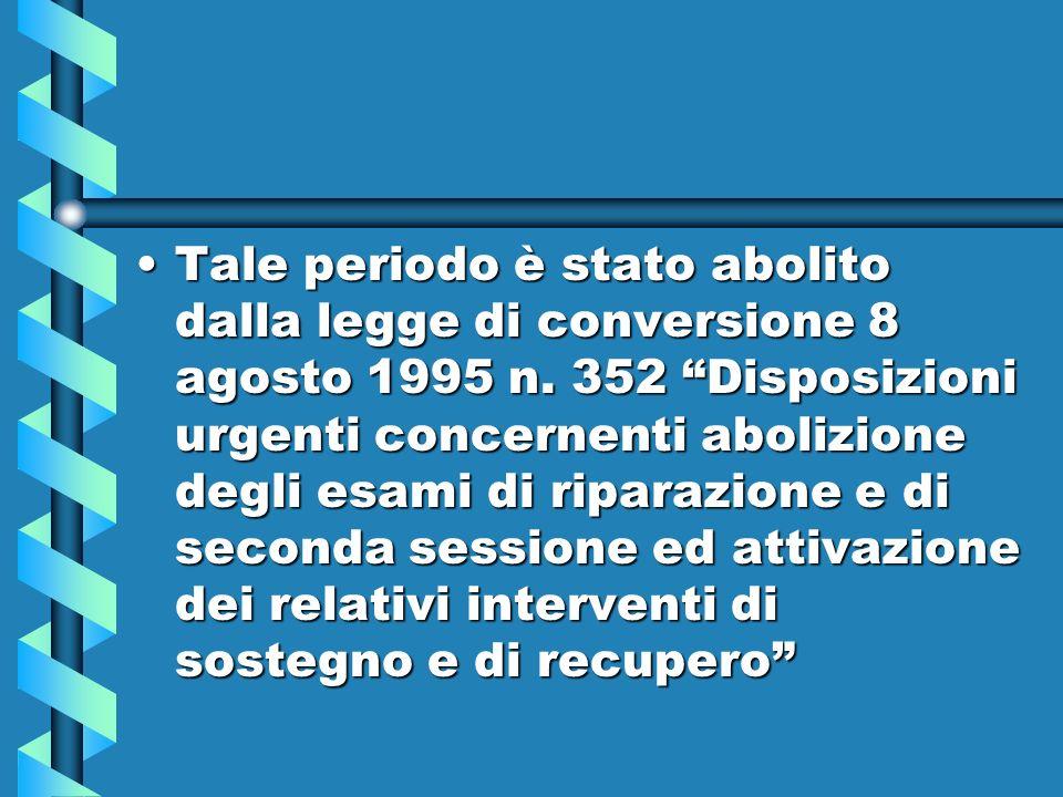 Tale periodo è stato abolito dalla legge di conversione 8 agosto 1995 n.