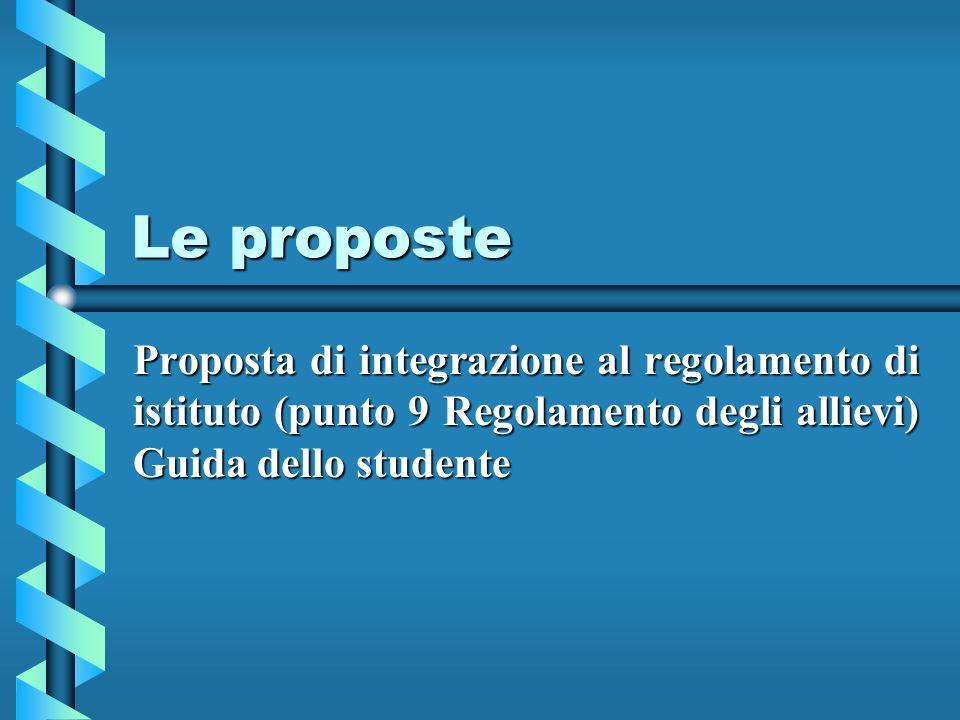 Le proposte Proposta di integrazione al regolamento di istituto (punto 9 Regolamento degli allievi) Guida dello studente
