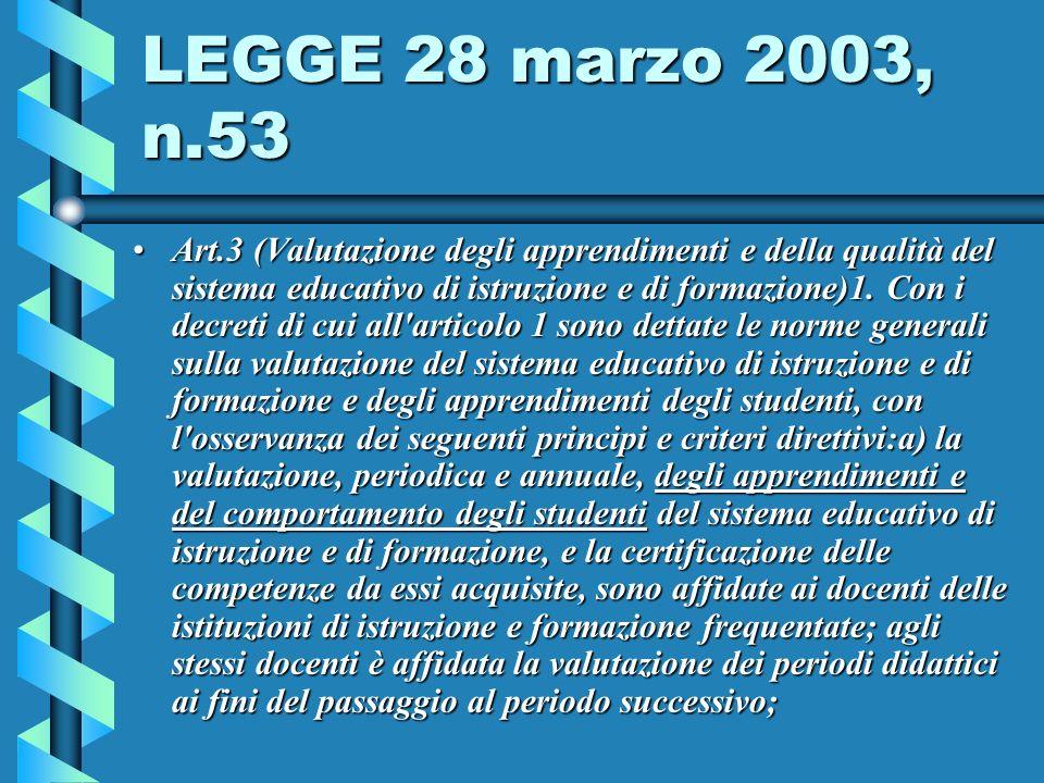 LEGGE 28 marzo 2003, n.53 Art.3 (Valutazione degli apprendimenti e della qualità del sistema educativo di istruzione e di formazione)1.