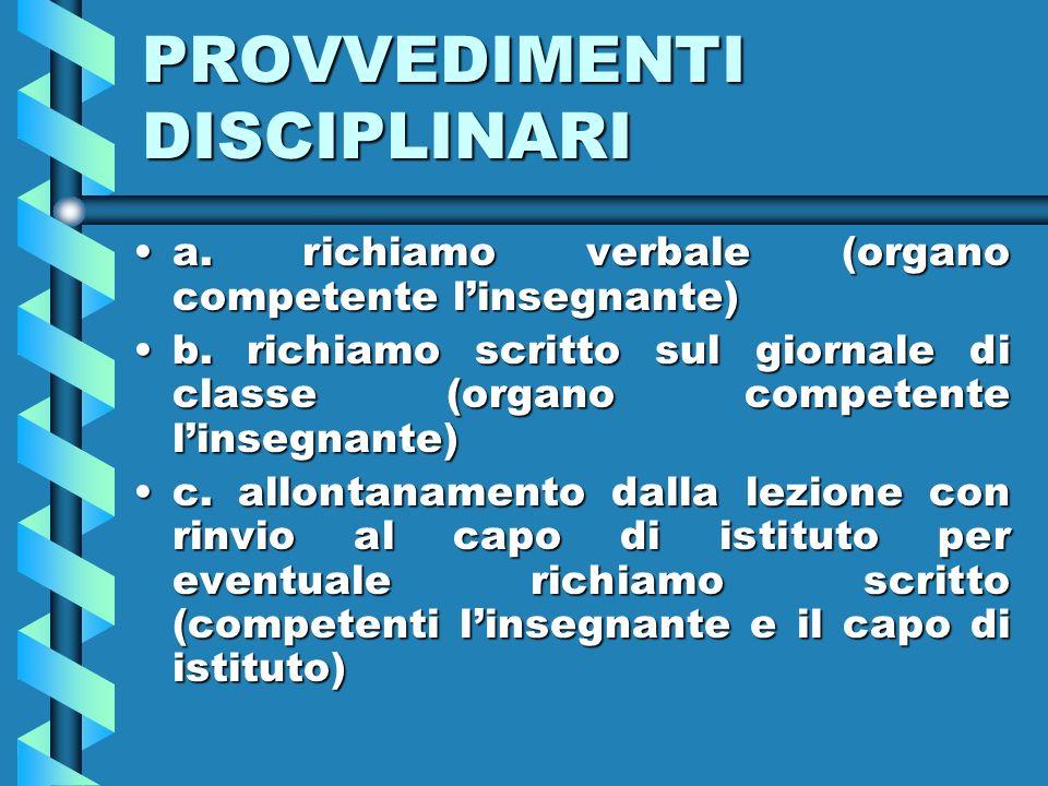 PROVVEDIMENTI DISCIPLINARI a.richiamo verbale (organo competente linsegnante)a.