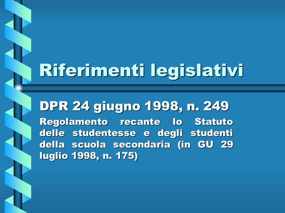Riferimenti legislativi DPR 24 giugno 1998, n.