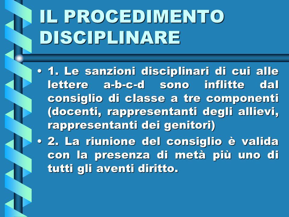 IL PROCEDIMENTO DISCIPLINARE 1.