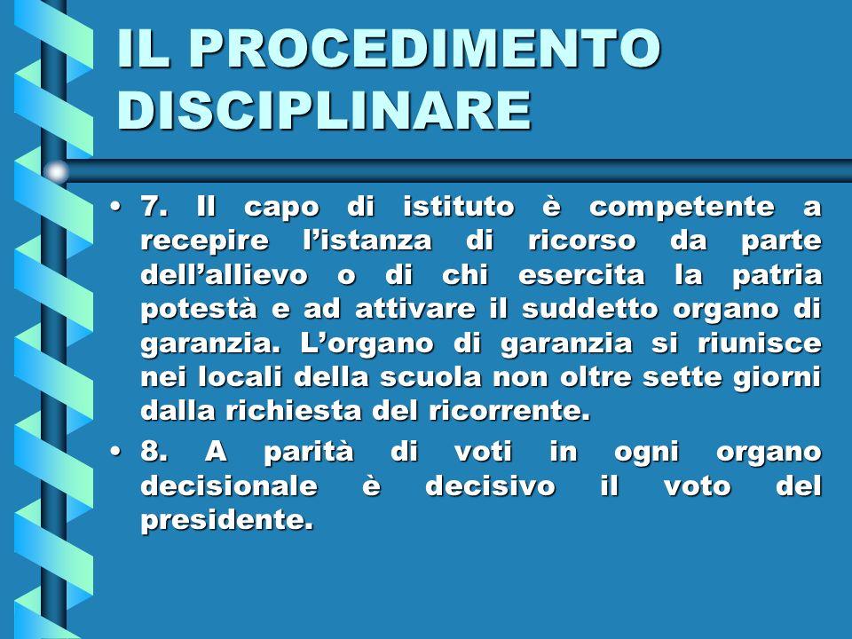IL PROCEDIMENTO DISCIPLINARE 7.