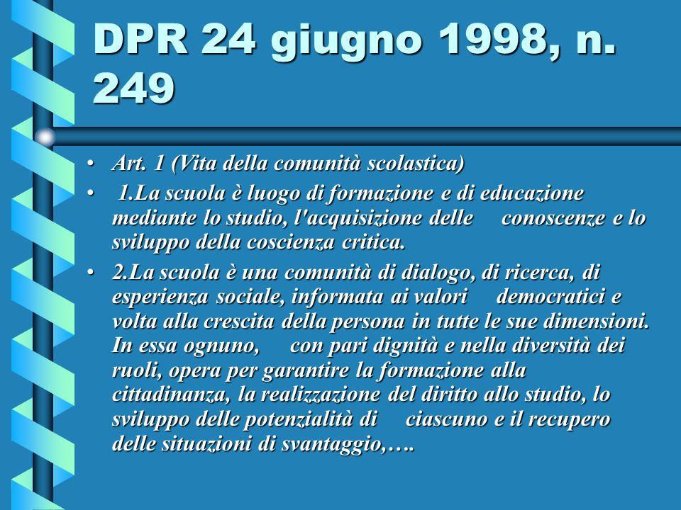 DPR 24 giugno 1998, n.249 Art. 1 (Vita della comunità scolastica)Art.
