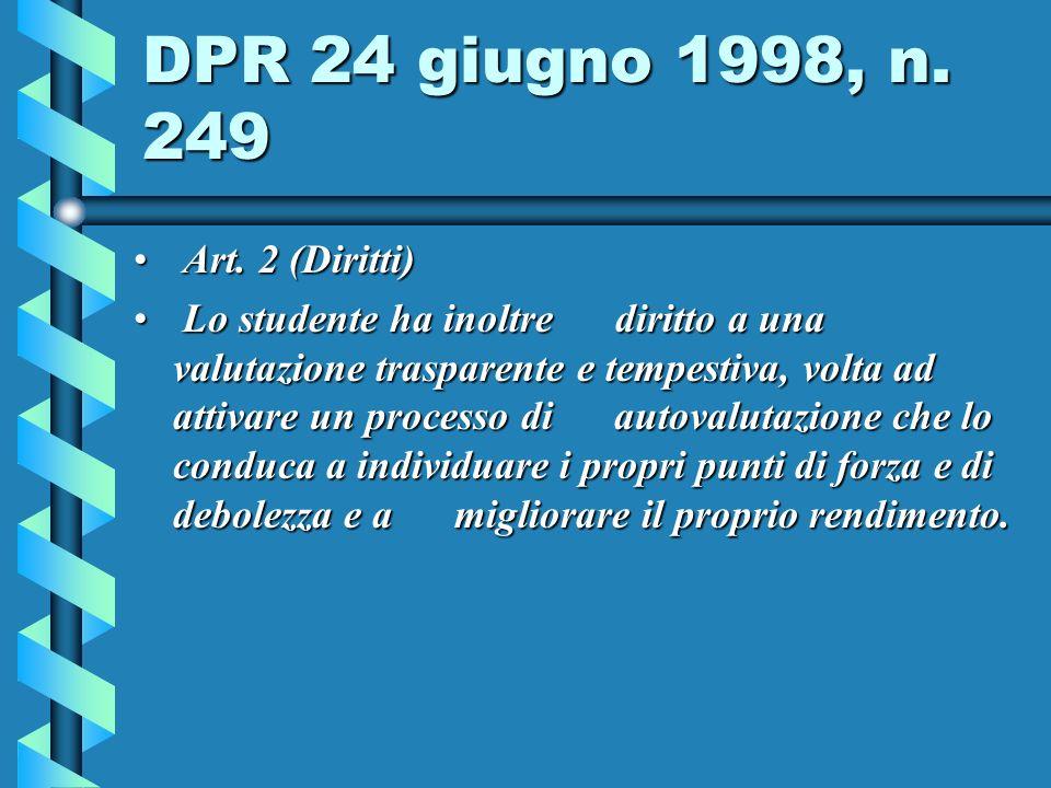 DPR 24 giugno 1998, n.249 Art. 2 (Diritti) Art.