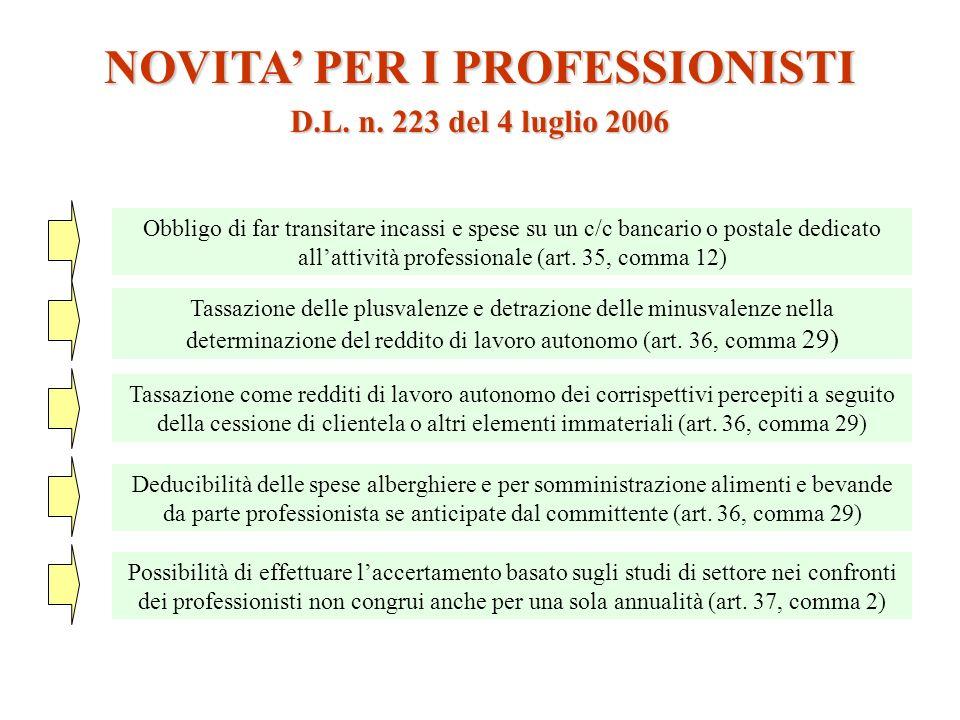 NOVITA PER I PROFESSIONISTI Obbligo di far transitare incassi e spese su un c/c bancario o postale dedicato allattività professionale (art. 35, comma