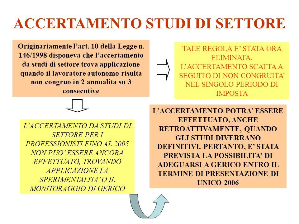 ACCERTAMENTO STUDI DI SETTORE Originariamente lart. 10 della Legge n. 146/1998 disponeva che laccertamento da studi di settore trova applicazione quan