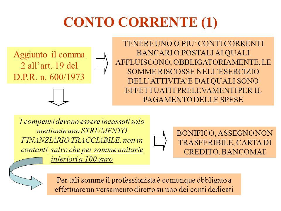 CONTO CORRENTE (1) Aggiunto il comma 2 allart. 19 del D.P.R. n. 600/1973 TENERE UNO O PIU CONTI CORRENTI BANCARI O POSTALI AI QUALI AFFLUISCONO, OBBLI