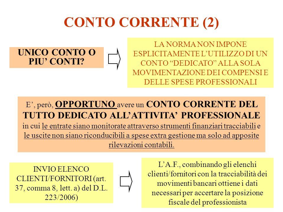 CONTO CORRENTE (2) LA NORMA NON IMPONE ESPLICITAMENTE LUTILIZZO DI UN CONTO DEDICATO ALLA SOLA MOVIMENTAZIONE DEI COMPENSI E DELLE SPESE PROFESSIONALI