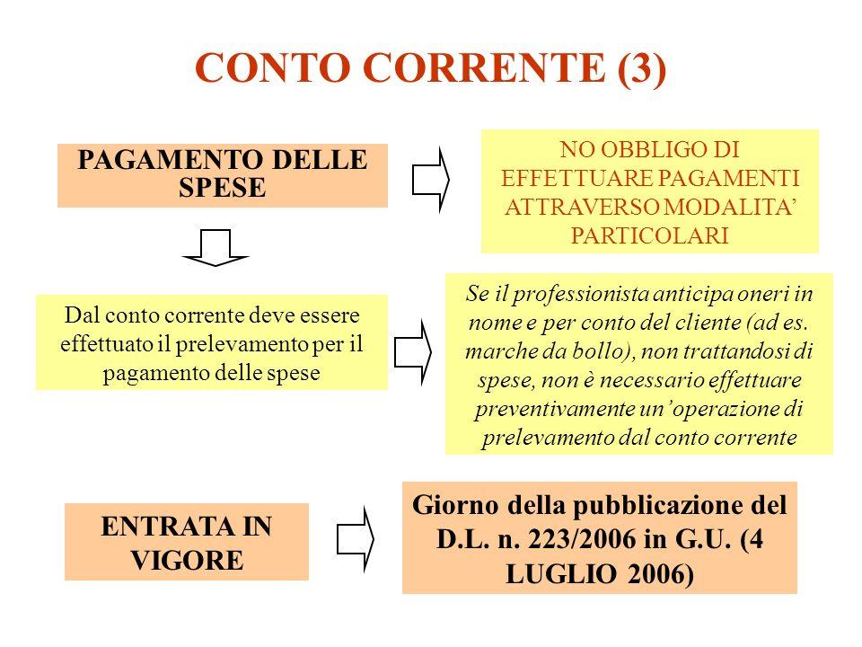 CONTO CORRENTE (3) NO OBBLIGO DI EFFETTUARE PAGAMENTI ATTRAVERSO MODALITA PARTICOLARI PAGAMENTO DELLE SPESE Dal conto corrente deve essere effettuato