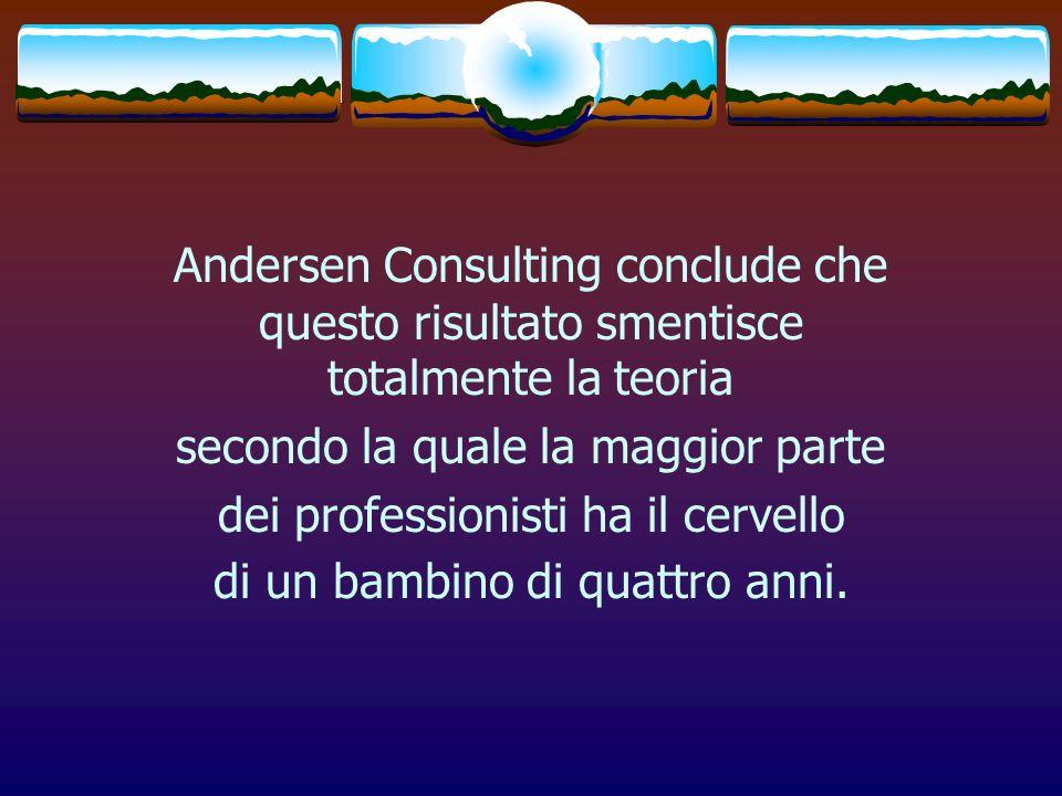 Andersen Consulting conclude che questo risultato smentisce totalmente la teoria secondo la quale la maggior parte dei professionisti ha il cervello d