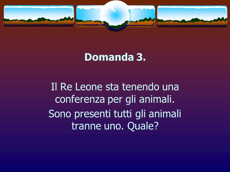 Domanda 3. Il Re Leone sta tenendo una conferenza per gli animali. Sono presenti tutti gli animali tranne uno. Quale?