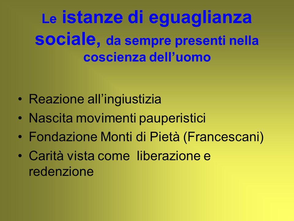 Le istanze di eguaglianza sociale, da sempre presenti nella coscienza delluomo Reazione allingiustizia Nascita movimenti pauperistici Fondazione Monti