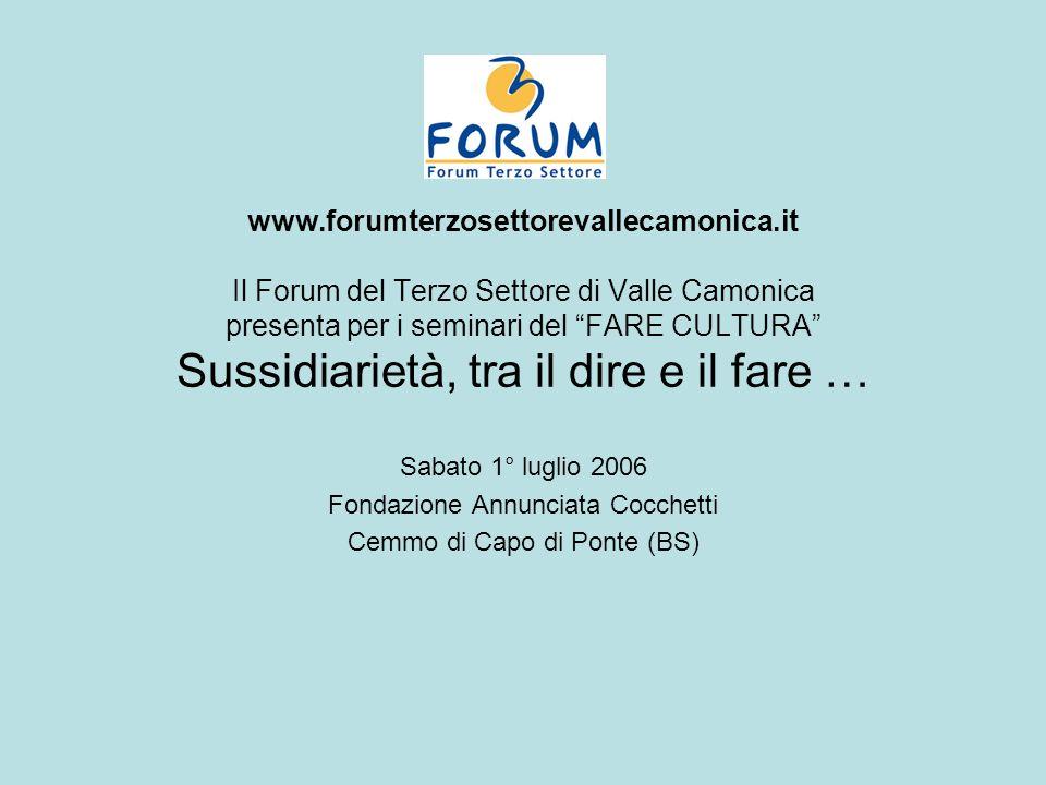 Spunti Sussidiarietà come criterio guida (non è una formula risolutiva, non determina automatismi): competenza e responsabilità per il bene pubblico.