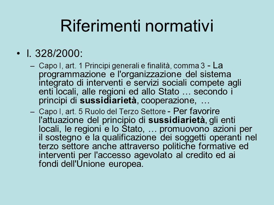 Riferimenti normativi l.328/2000: –Capo I, art.