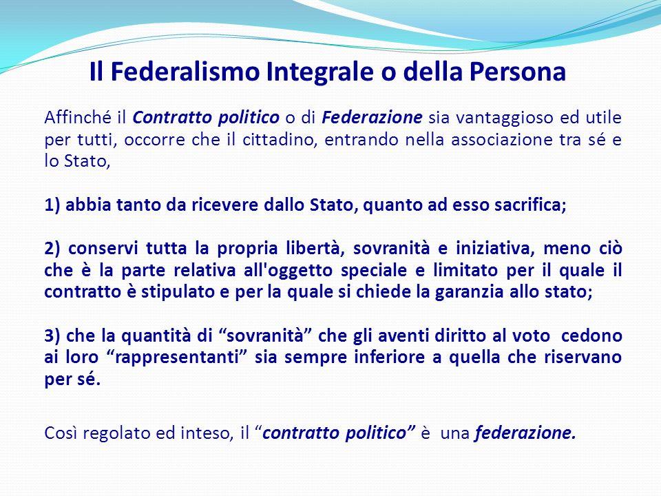 Il Federalismo Integrale o della Persona Affinché il Contratto politico o di Federazione sia vantaggioso ed utile per tutti, occorre che il cittadino,