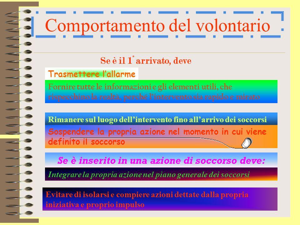 Il Volontario Il volontario deve svolgere il compito affidatogli con efficacia e disciplina a qualunque livello della catena dei soccorsi si trovi ad