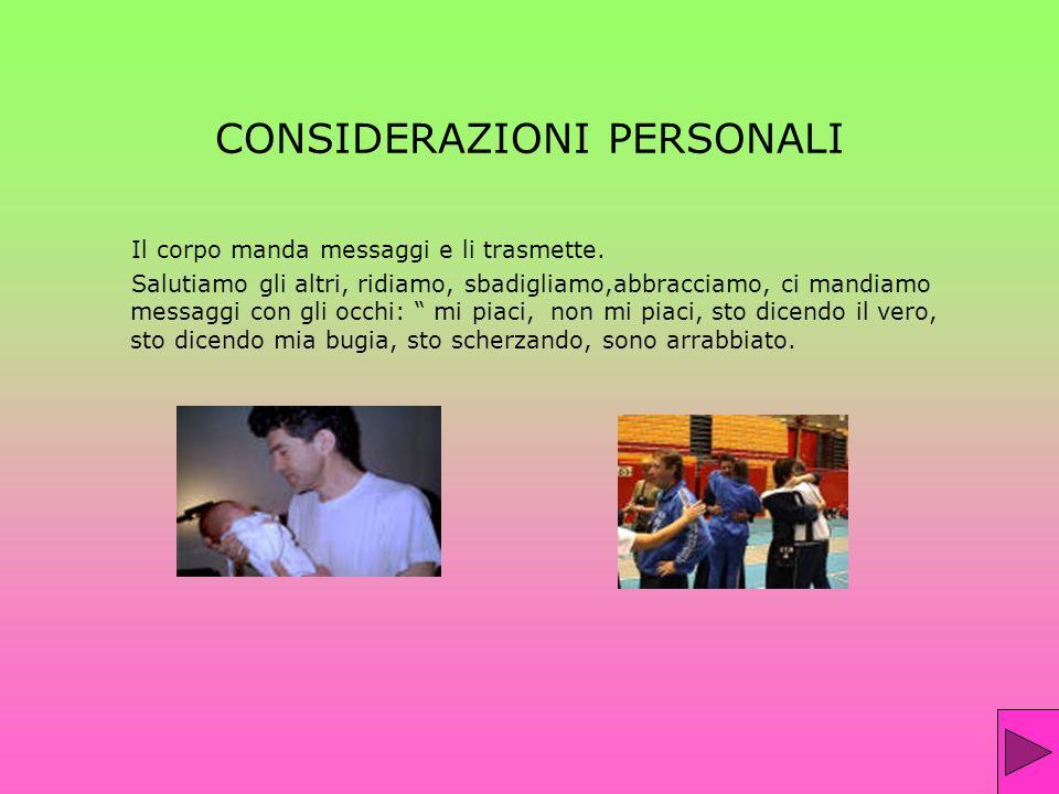 CONSIDERAZIONI PERSONALI Il corpo manda messaggi e li trasmette. Salutiamo gli altri, ridiamo, sbadigliamo,abbracciamo, ci mandiamo messaggi con gli o