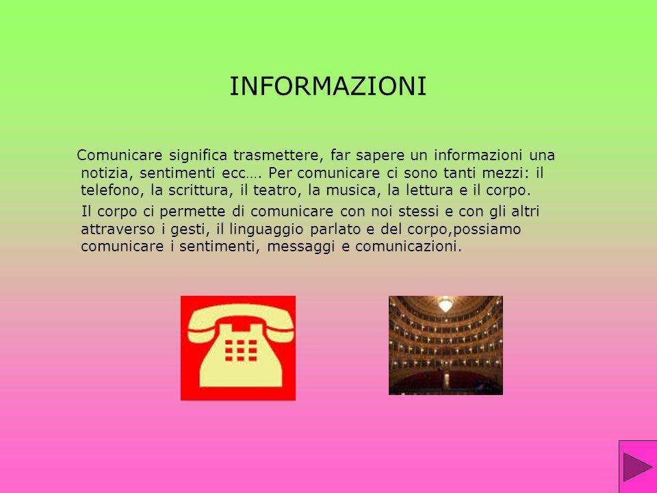 INFORMAZIONI Comunicare significa trasmettere, far sapere un informazioni una notizia, sentimenti ecc…. Per comunicare ci sono tanti mezzi: il telefon