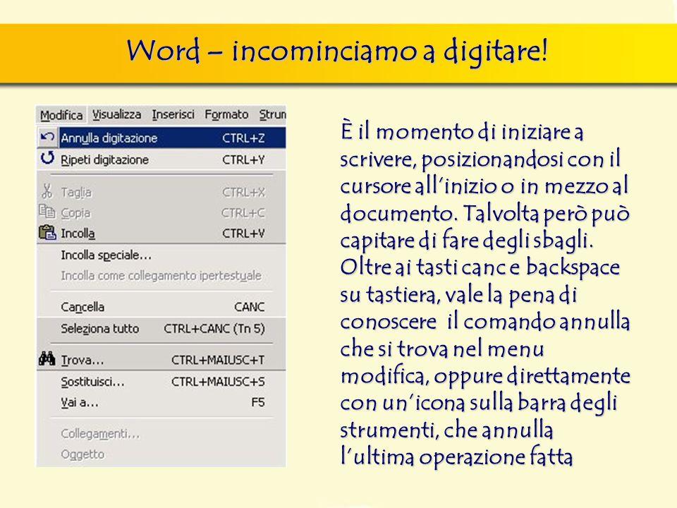 Word – incominciamo a digitare! È il momento di iniziare a scrivere, posizionandosi con il cursore allinizio o in mezzo al documento. Talvolta però pu