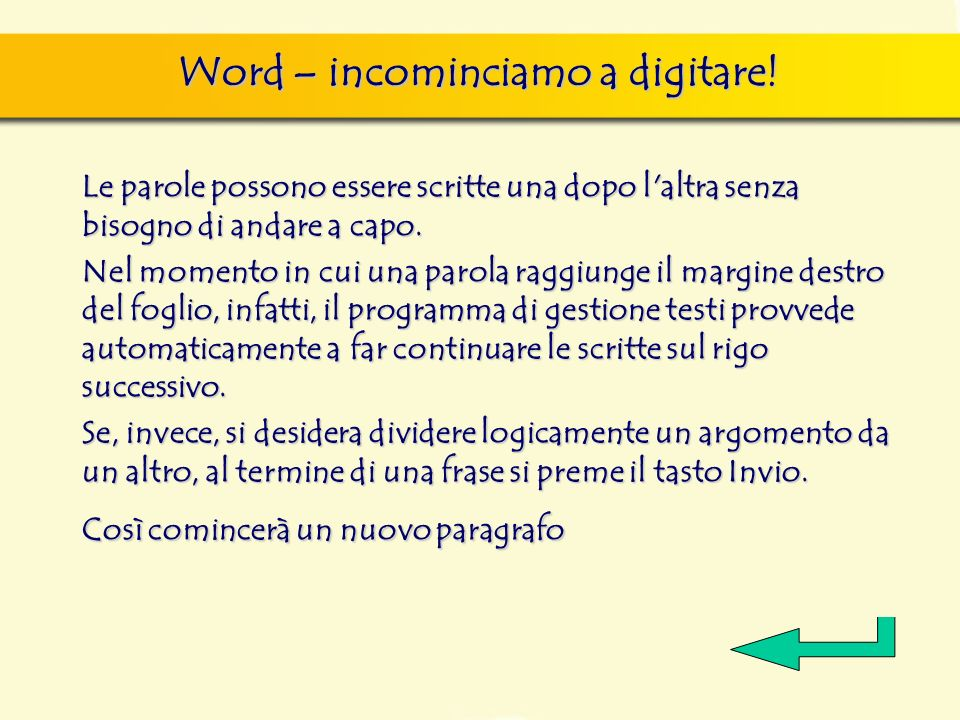 Word – incominciamo a digitare! Le parole possono essere scritte una dopo l'altra senza bisogno di andare a capo. Nel momento in cui una parola raggiu