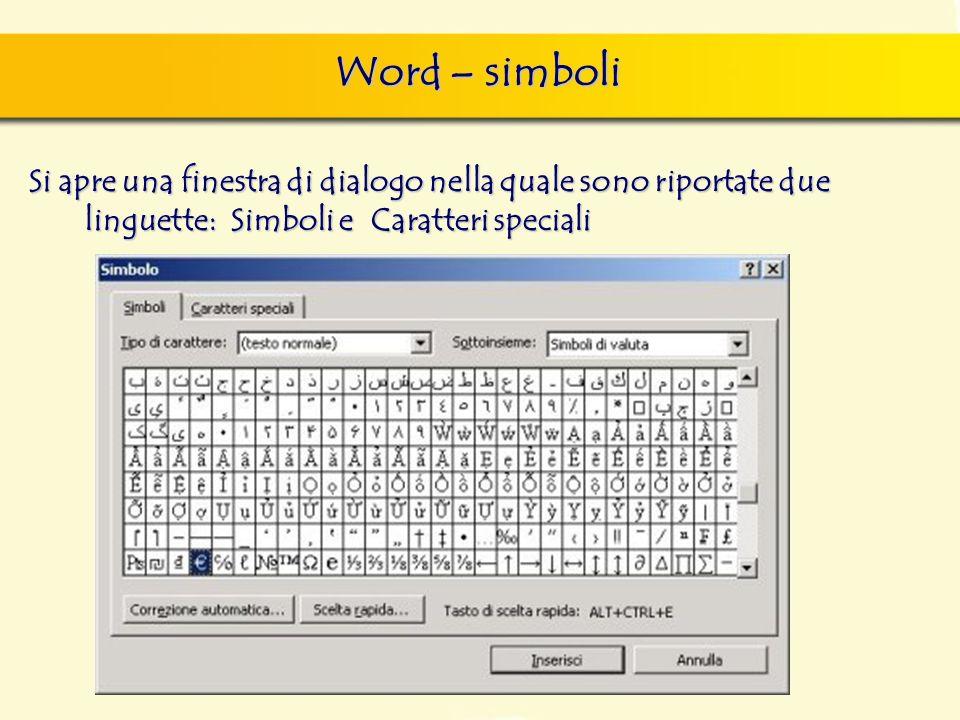 Word – simboli Si apre una finestra di dialogo nella quale sono riportate due linguette: Simboli e Caratteri speciali