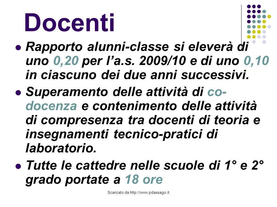 Scaricato da http://www.pdassago.it Docenti Rapporto alunni-classe si eleverà di uno 0,20 per la.s.