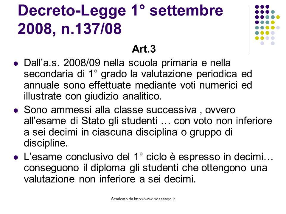 Scaricato da http://www.pdassago.it Decreto-Legge 1° settembre 2008, n.137/08 Art.3 Dalla.s.