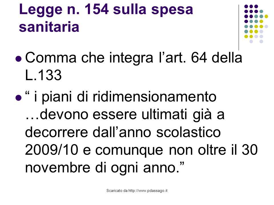 Scaricato da http://www.pdassago.it Legge n. 154 sulla spesa sanitaria Comma che integra lart.