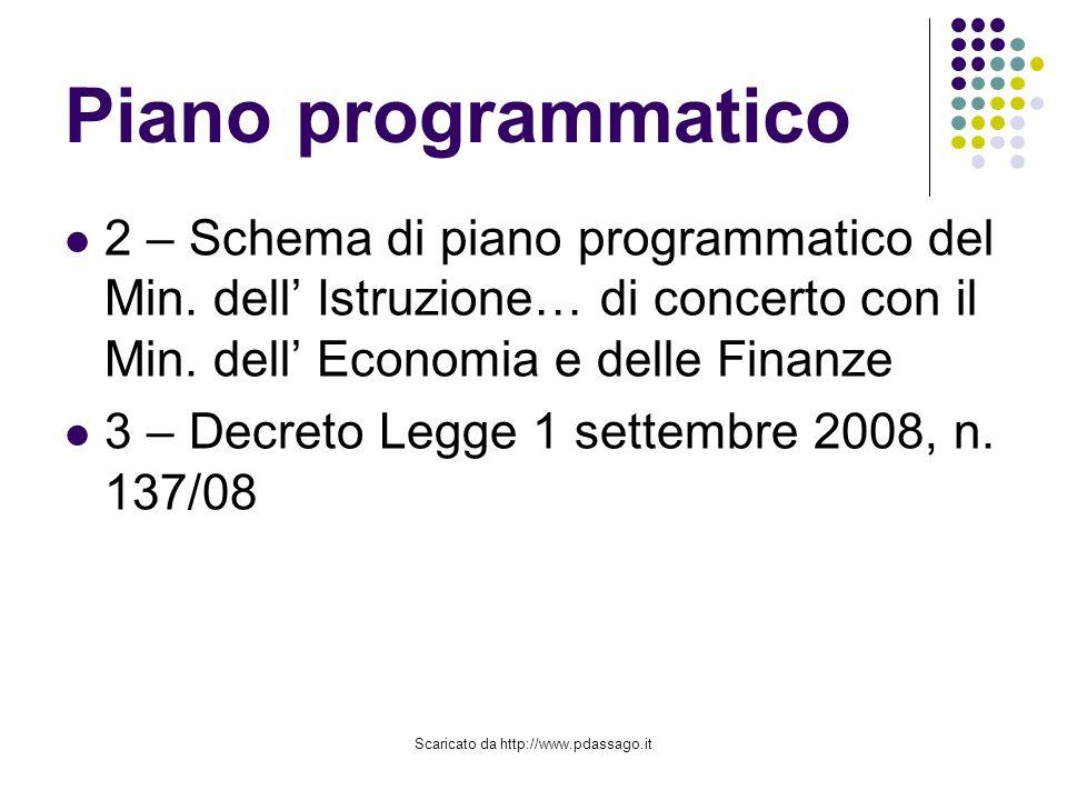 Scaricato da http://www.pdassago.it Piano programmatico 2 – Schema di piano programmatico del Min.
