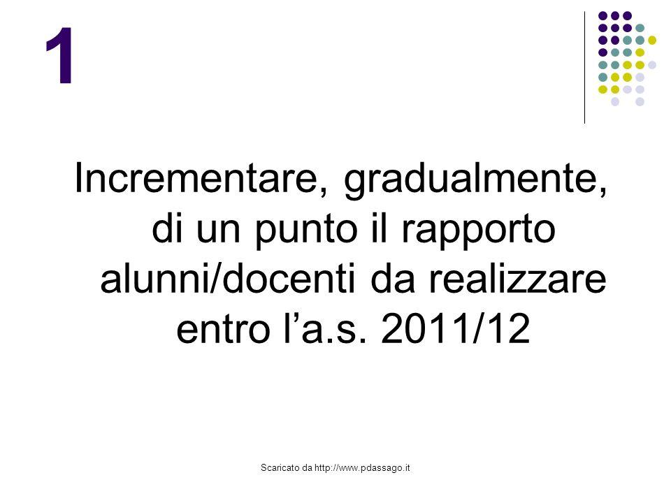 Scaricato da http://www.pdassago.it 1 Incrementare, gradualmente, di un punto il rapporto alunni/docenti da realizzare entro la.s.