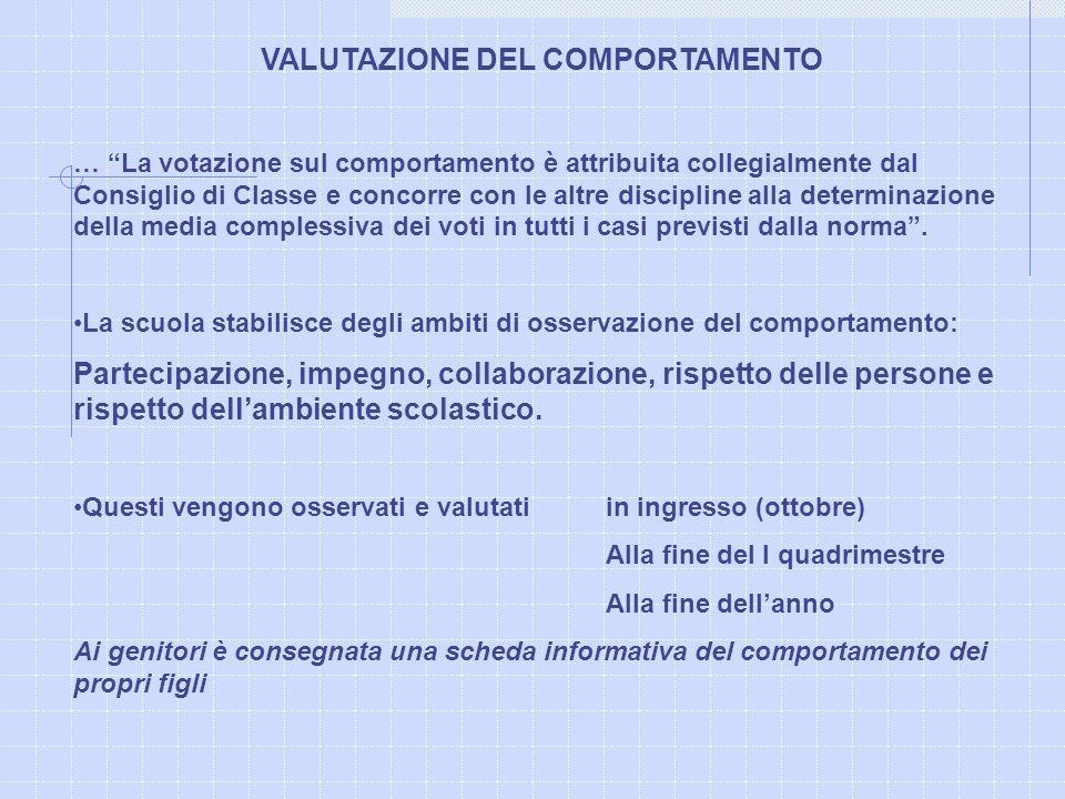 VALUTAZIONE DEL COMPORTAMENTO … La votazione sul comportamento è attribuita collegialmente dal Consiglio di Classe e concorre con le altre discipline