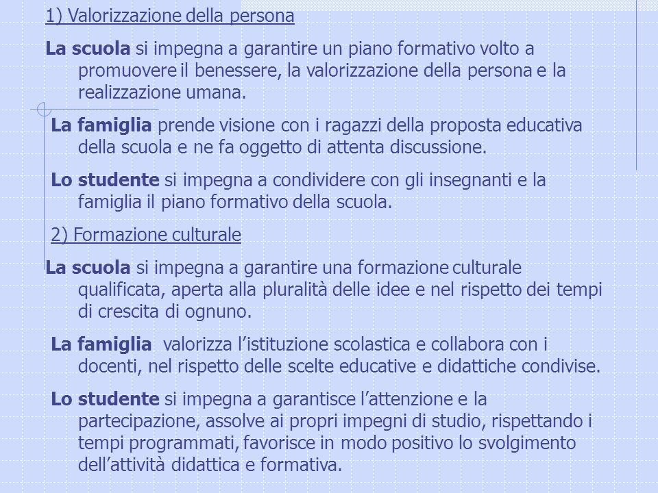 1) Valorizzazione della persona La scuola si impegna a garantire un piano formativo volto a promuovere il benessere, la valorizzazione della persona e