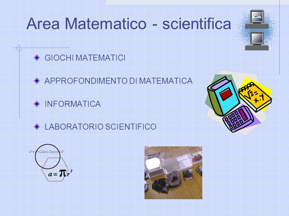 GIOCHI MATEMATICI APPROFONDIMENTO DI MATEMATICA INFORMATICA LABORATORIO SCIENTIFICO Area Matematico - scientifica