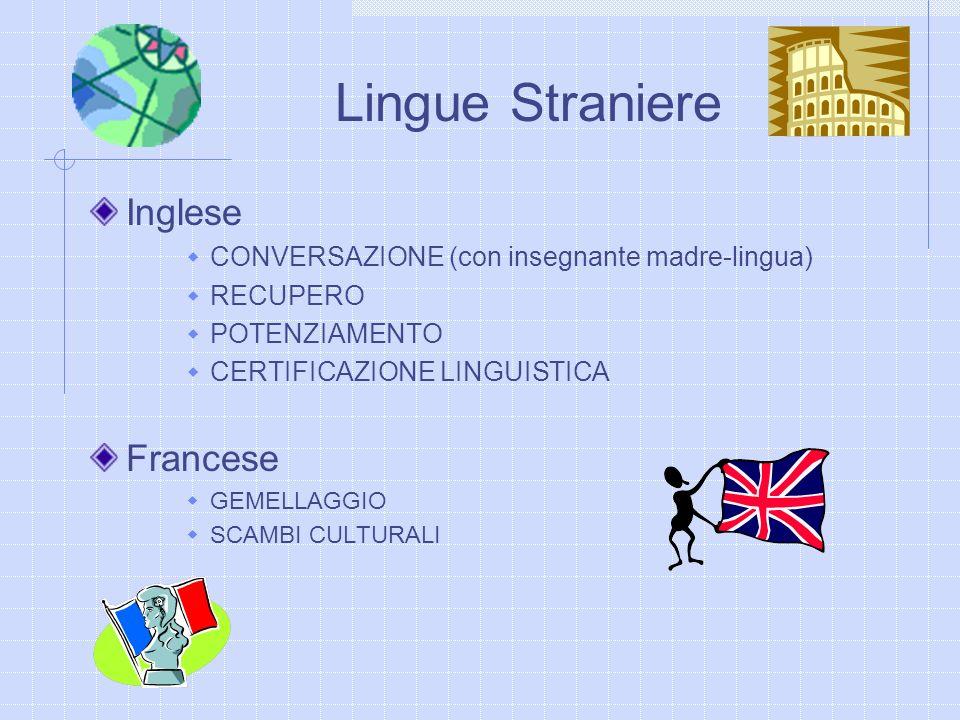 Inglese CONVERSAZIONE (con insegnante madre-lingua) RECUPERO POTENZIAMENTO CERTIFICAZIONE LINGUISTICA Francese GEMELLAGGIO SCAMBI CULTURALI Lingue Str