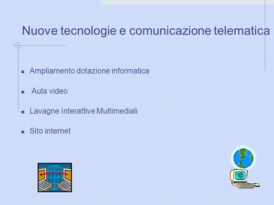 Nuove tecnologie e comunicazione telematica Ampliamento dotazione informatica Aula video Lavagne Interattive Multimediali Sito internet