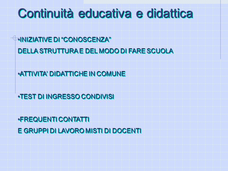 Continuità educativa e didattica INIZIATIVE DI CONOSCENZAINIZIATIVE DI CONOSCENZA DELLA STRUTTURA E DEL MODO DI FARE SCUOLA ATTIVITA DIDATTICHE IN COM