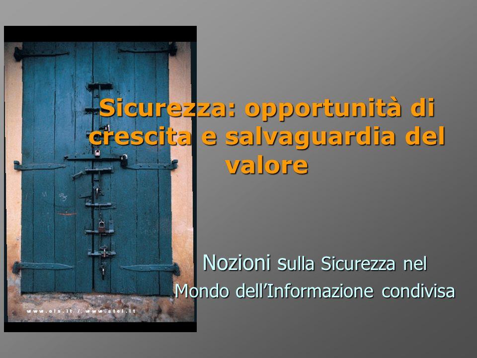 Sicurezza: opportunità di crescita e salvaguardia del valore Nozioni s ulla Sicurezza nel Mondo dellInformazione condivisa