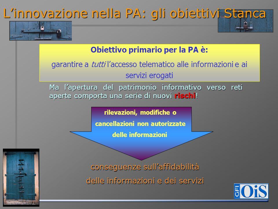 Linnovazione nella PA: gli obiettivi Stanca Obiettivo primario per la PA è: garantire a tutti laccesso telematico alle informazioni e ai servizi eroga