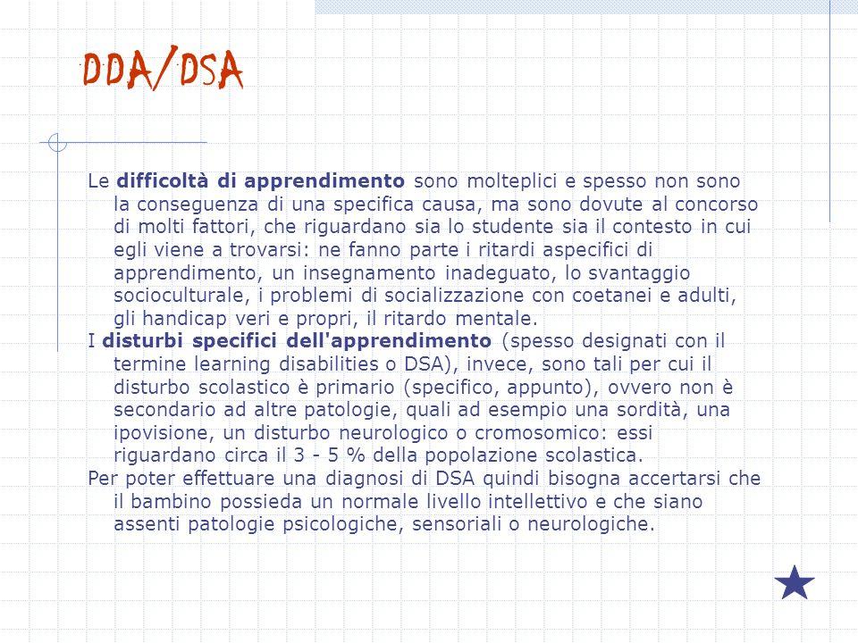 DDA/DSA Le difficoltà di apprendimento sono molteplici e spesso non sono la conseguenza di una specifica causa, ma sono dovute al concorso di molti fa