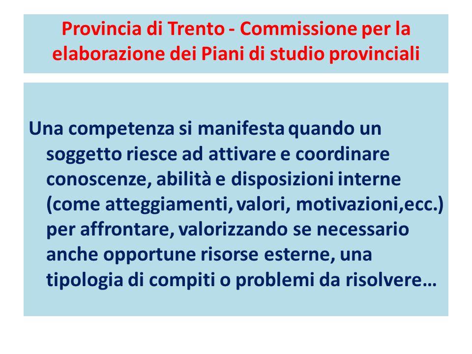 Provincia di Trento - Commissione per la elaborazione dei Piani di studio provinciali Una competenza si manifesta quando un soggetto riesce ad attivar