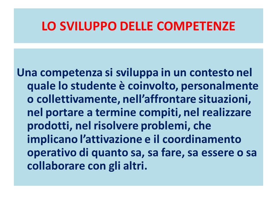 LO SVILUPPO DELLE COMPETENZE Una competenza si sviluppa in un contesto nel quale lo studente è coinvolto, personalmente o collettivamente, nellaffront