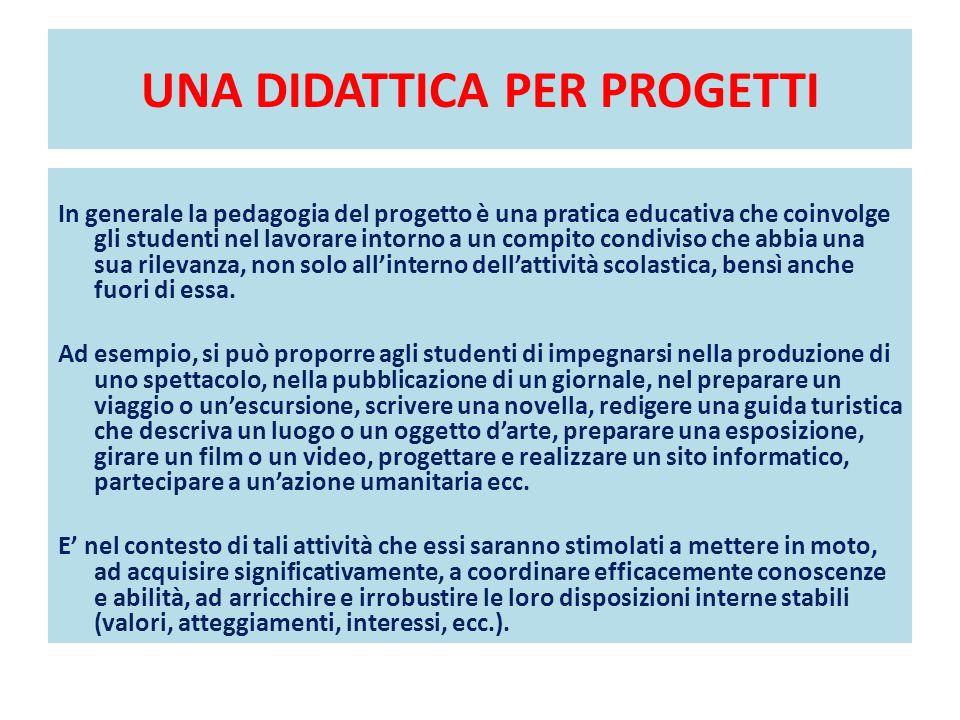 UNA DIDATTICA PER PROGETTI In generale la pedagogia del progetto è una pratica educativa che coinvolge gli studenti nel lavorare intorno a un compito